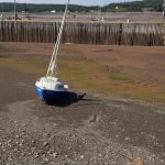 sailboat sits high and dry in the mud at low tide in Parrsboro Harbor, Nova Scotia