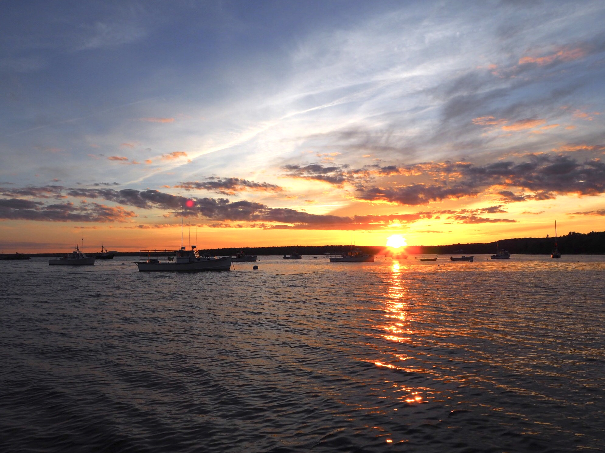 The sun sets over Eastern Bay in Lamoine State Park