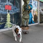 dog in from of green alien statue