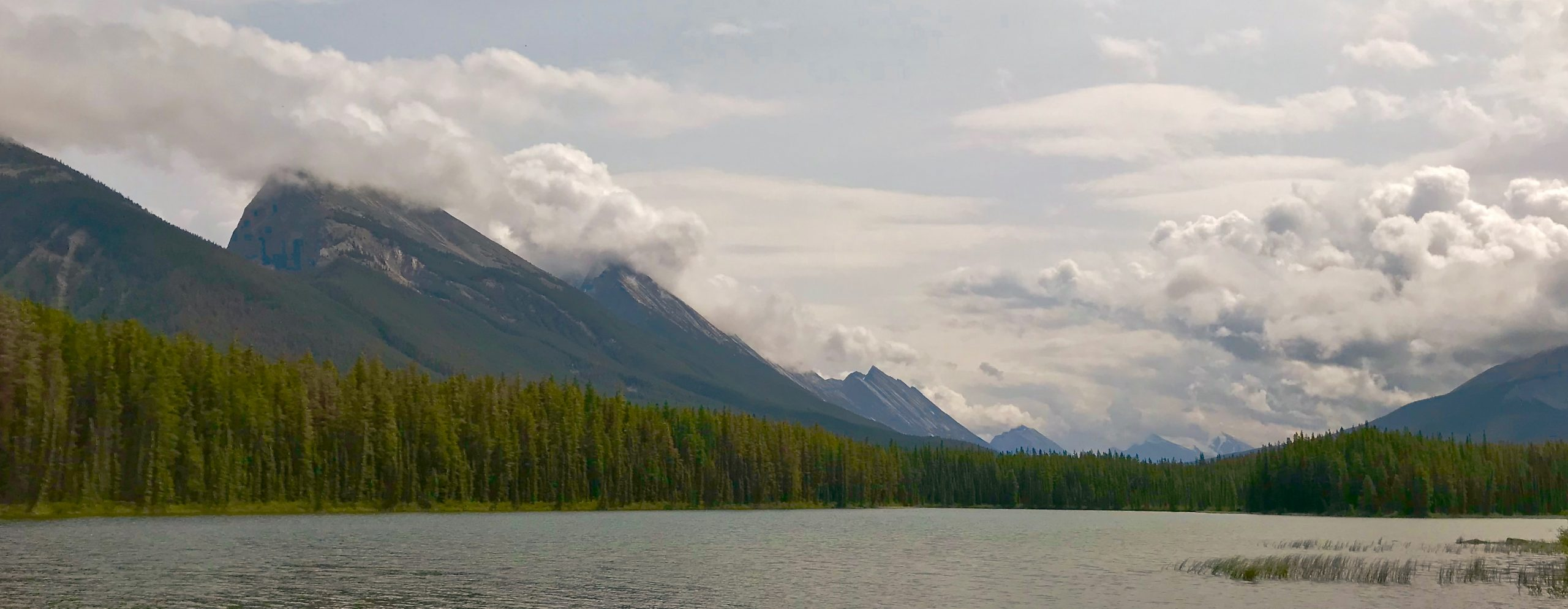 Honeymoon Lake sits at the foot of the Endless Chain Ridge in Jasper National Park.