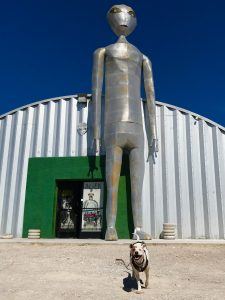 Rover the vagabond dog stands in front of a giant statue of an alien spacemen at the Alien Research Center on the Extraterrestrial Highway in Nevada