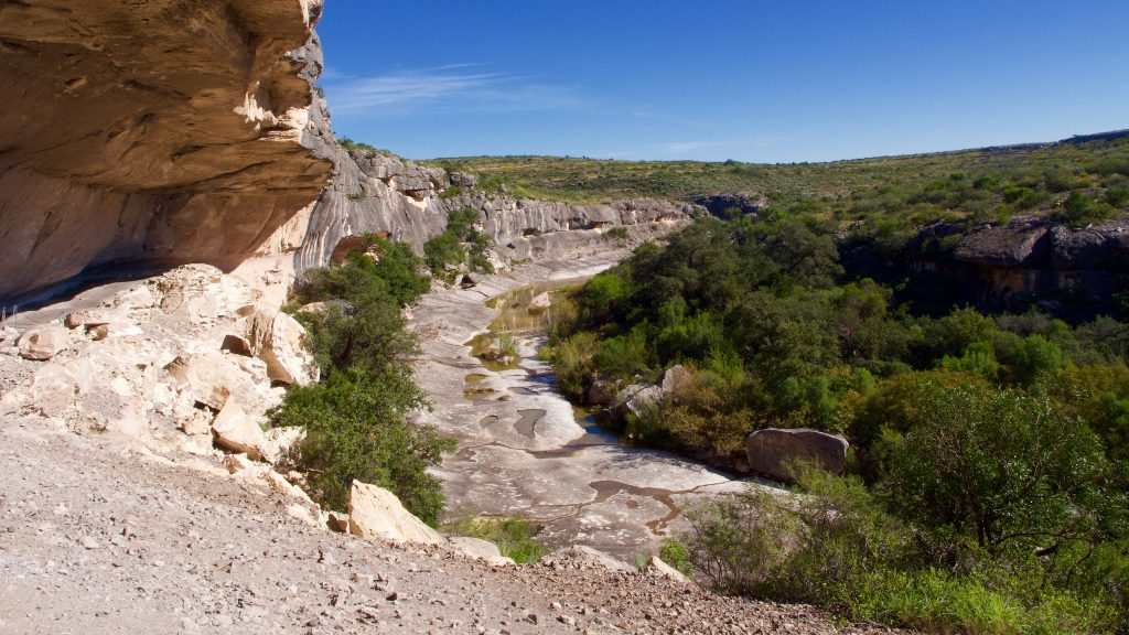 A view of Seminole Canyon from the Fate Bell Shelter. The roof of the shelter arches overhead. Scrub brush and small pools of water dot the canyon floor.